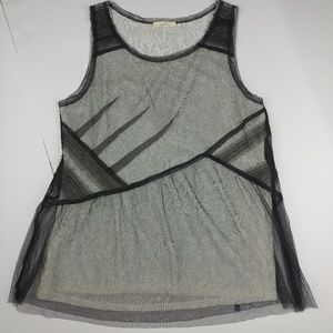 Anthropologie MYSTREE Lace and Sheer Tank Top